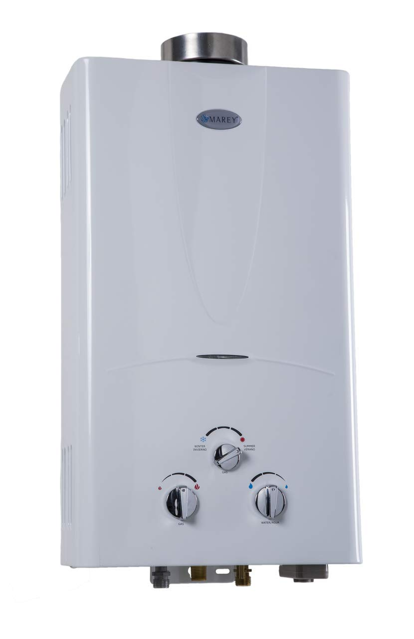 Marey GA10LP Power 10L 3.1 GPM Propane Gas Tankless Water Heater, Small, White by MAREY