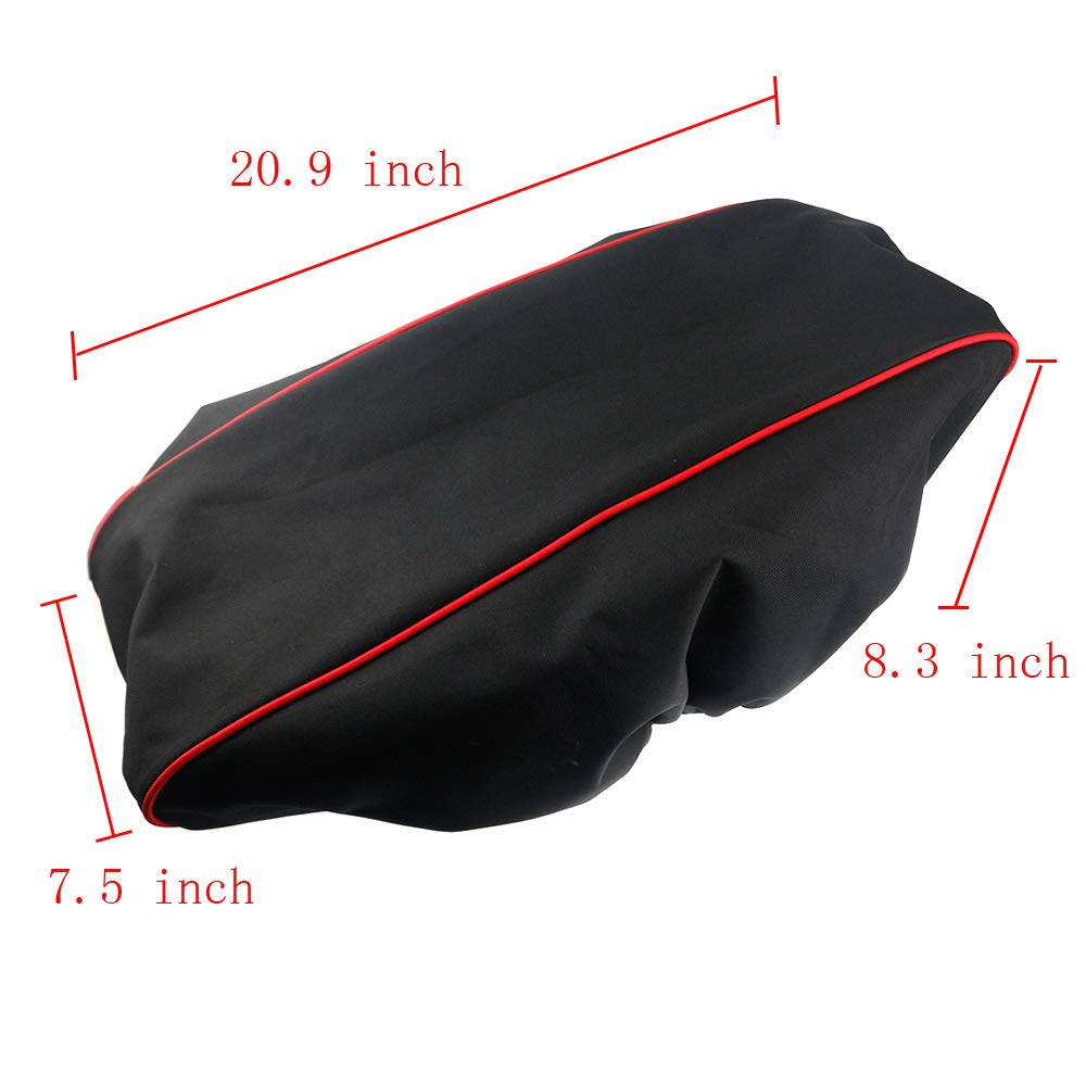 Winch Cover 21.5 W x 9.5 H x 7.5 D Waterproof Soft Winch Dust Cover with 600D Heavy Duty Oxford Fabric Driver Recovery 8,500 to 17,500 Pound Capacit Red Stripe Edge