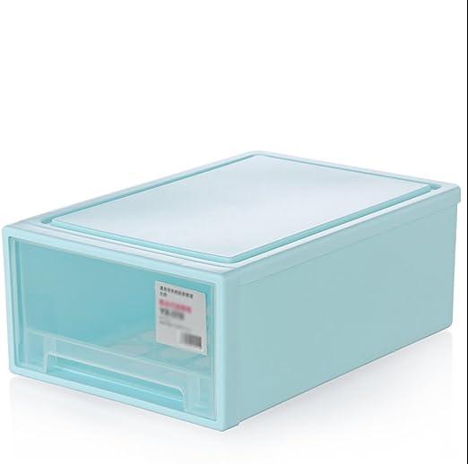 Caja De Zapatos, Cajones Tipo De Hombres Y Mujeres De Plástico Caja De Almacenamiento De Zapatos Puerta De Limpieza Organizador 40 * 27.8 * 15 Cm 24L,Blue: Amazon.es: Hogar
