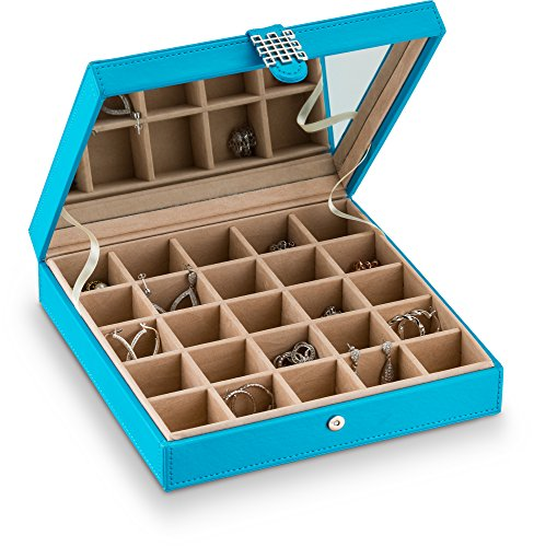 - Glenor Co Earring Organizer - Classic 25 Section Jewelry Box/Case / Holder for Earrings, Rings, Necklaces, Jewelry, Cufflinks or Collections. 25 Small Compartments with Elegant Large Mirror - Blue