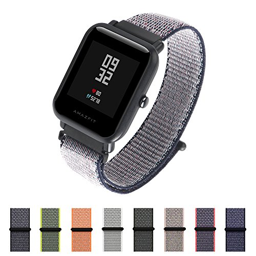 Nylon Sport Loop Band SIKAI 20mm Replacement Nylon Strap Compatible with Amazfit Bip/Samsung Gear Sport/Ticwatch E Breathable with Hook and Loop Fastener Adjustable Closure (Midnight Blue)