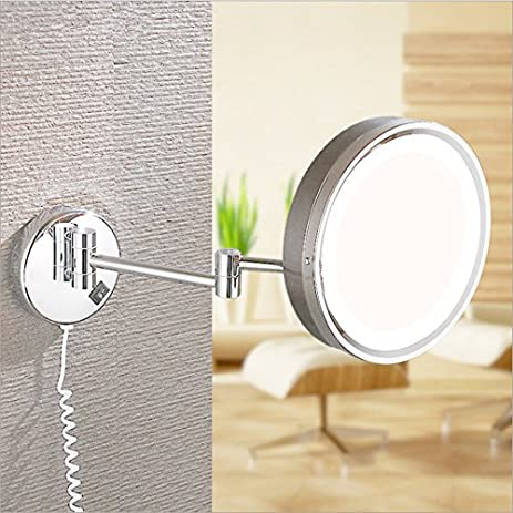 Ohcde Dheark Led 8 Inch Folding Double Side Makeup Mirror Retractable Wall  Mounted Round Magnifying Bathroom