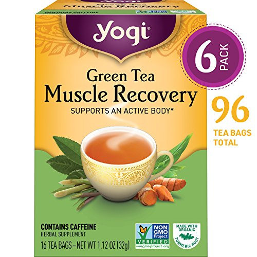 Yogi Tea - Green Tea Muscle Recovery - Supports an Active Body - 6 Pack, 96 Tea Bags Total (Green Recovery Tea Muscle)