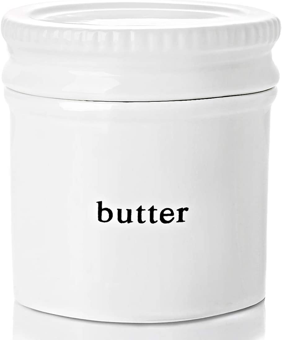 GDCZ Ceramics Butter Dish With Water Line,Porcelain French Butter Keeper Crock With Lid,White