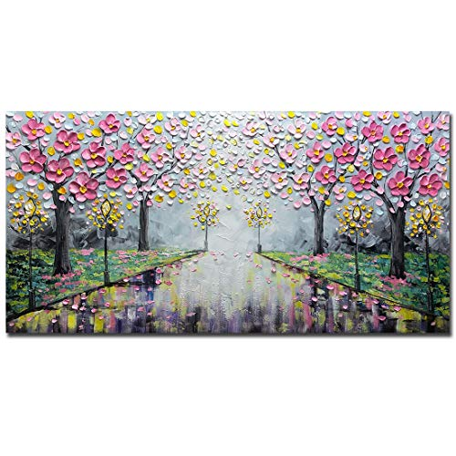 Amei Art Paintings,24X48 Inch 3D Modern Hand-Painted Romantic Street Canvas Wall Art Cherry Blossom Tree Oil Paintings Abstarct Landscape Artwork Home Wall Décor Art Wood Inside Framed Ready to Hang