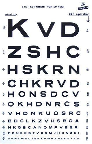 Snellen Type Plastic Eye Chart - 10' ()