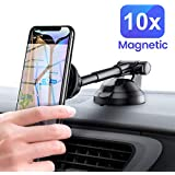 Car Phone Mount, Magnetic Dashboard Car Holder 6 Strong Magnets Car Cradle Mount Adjustable Car Windshield Holder Compatible iPhone Xs MAX/8/7 Plus, Note 9/S9/S8/S7,iPad Pro by Ainope