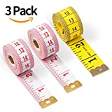 Soft Cloth Tape Measure Body, Tailor Plastic Measuring Tape for Sewing 3 Pack (79 Inch x 2Pcs, 60 Inch x 1Pcs, 2CM Wide)