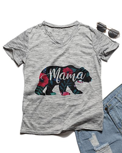 Erxvxp Mama Bear Print T-Shirt Women 2018 Summer Casual Short Sleeve T Shirt for Mothers Day (Large)