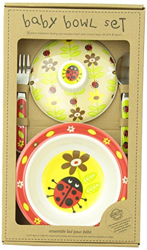 Sugarbooger Covered Suction Bowl Gift Set, Lady Bug Pop Beauty Lid Collection