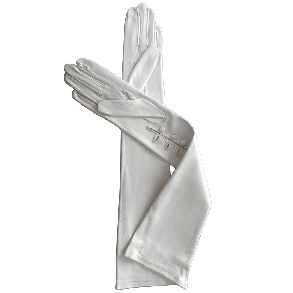 12'' Leather Gloves with 3 Buttons at the Wrist, Lined in Silk. By Solo Classe (9, White)