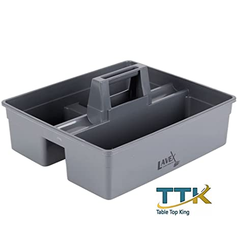 Exceptionnel Tabletop King 3 Compartment Gray Janitor Caddy   15 1/4u0026quot; X 13 1
