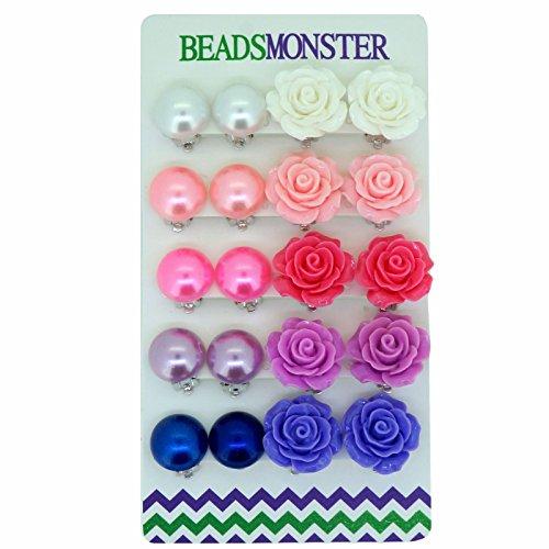 Color Faux Pearl Rose Flower Clip On Earrings Gift For Little Teen Girls Womens ()