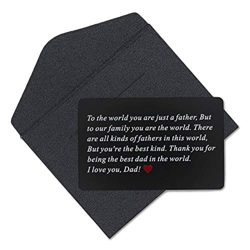 Vanfeis Black Metal Engraved Wallet Insert Card Men Present - Funny Dad Gifts for Fathers Day, Birthday, Christmas from Daughter, Son or Wife - Best Dad Ever Unique Gift Ideas for Him Daddy from Kids -