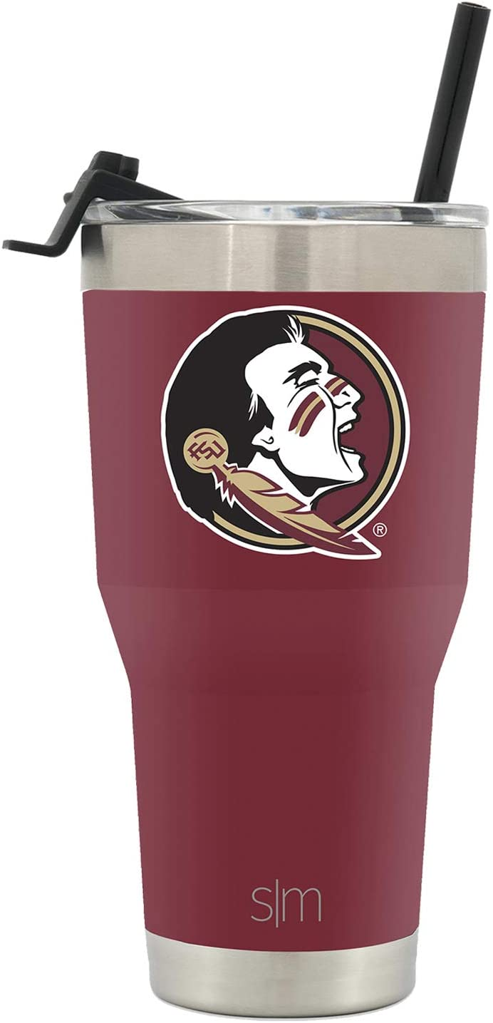 Simple Modern 30oz Cruiser Tumbler with Clear Flip Lid - Florida State University - Coffee Travel Tumbler Stainless Steel - Gifts for Men Women Dad Fathers Day: NCAA Florida State Seminoles