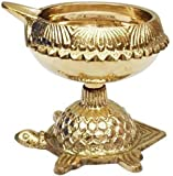 Brass Diya Kuber Diya Handmade Indian Engraved Design with Turtle Base Brass Kuber Diya Lamp (5.01 cm x 5.01 cm x 5.39 cm, Gold, Set of 1)