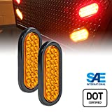 2pc 6'' Oval LED Trailer Tail Lights - 24 AMBER LED Park Turn Trailer Lights For RV Trucks (DOT Certified, Grommet & Plug Included)
