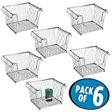 mDesign Household Stackable Wire Storage Organizer Bin Basket with Built-In Handles, Open Front for Kitchen Cabinets, Pantry, Closets, Bedrooms, Bathrooms - Large, Pack of 6, Steel in Silver Finish