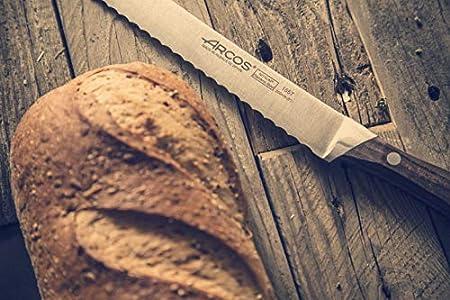 Arcos Serie Natura, Cuchillo para Pan Panero, Hoja de Acero Inoxidable Forjado Nitrum 200 mm, Mango de Madera Palisandro color Marrón
