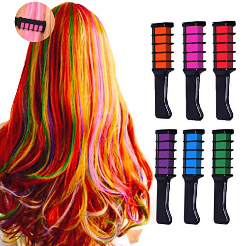 New Hair Chalk Comb Temporary Bright Hair Color Dye for Girls Kids,Washable Hair Chalk for Girls Age 4 5 6 7 8 9 10+ Children's Day, Christmas Gift New Year Birthday Party Cosplay DIY,6 Colors (Hairstyles For 8 Year Olds With Thick Hair)