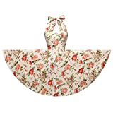 YW Halter 100% Cotton Polka Dot Floral 50s Style Vintage Retro Rockabilly Swing Dress (Small, Cream Floral)