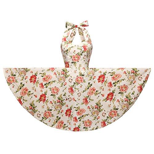 - Halter 100% Cotton Polka Dot Floral 50s Style Vintage Retro Rockabilly Swing Dress (M (US6/UK10/EU38), Cream Floral)