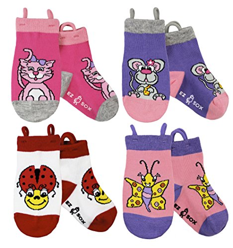 Kids Socks, Seamless Cotton Animal Zoo Non Skid Toddler, Ez Socks (Medium, (Pull Up Socks)
