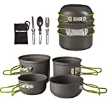 Wealers Cookware 7 Pieces Kit Cookset Backpacking Gear & Hiking Outdoors Cooking Equipment - Lightweight, Compact, & Durable Pot Pan Bowls - Free Folding Cutlery Set
