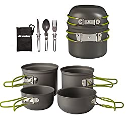 Wealers Cookware 7 Pieces Kit Cookset Backpacking Gear & Hiking Outdoors Cooking Equipment - Lightweight, Compact, Durable Pot Pan Bowls - Free Folding Cutlery Set