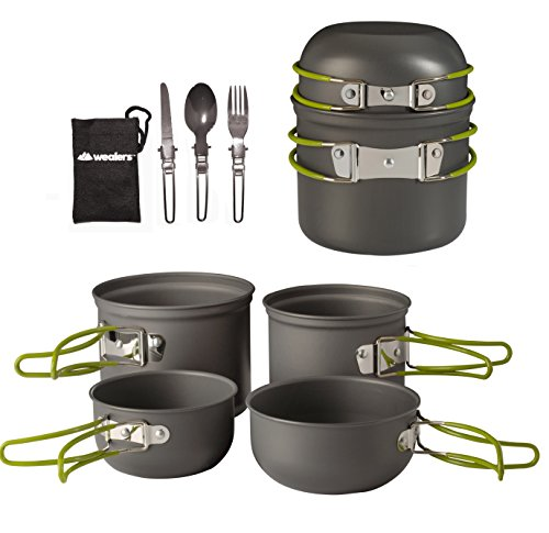 Wealers Cookware 7 Pieces Kit Cookset Backpacking Gear & Hiking Outdoors Cooking Equipment - Lightweight, Compact, & Durable Pot Pan Bowls - Free Folding Cutlery Set ()
