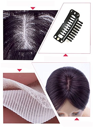 Remeehi Middle Part Real Human Hair Topper Clip in Hand Made Hair Top Piece for Thinning Hair (14inch Chestnut Brown) by Remeehi (Image #4)