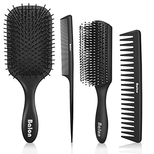 4Pcs Paddle Hair Brush, Detangling Brush and Hair Comb Set for Men and Women, Great On Wet or Dry Hair, No More Tangle Hairbrush for Long Thick Thin Curly Natural Hair (Black) ()