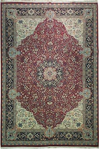 Harooni 18x12 Fine Kashan Traditional Natural Wool Rug Burgundy