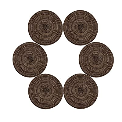"""Topotdor 14 Inch Round Placemats Heat-Resistant Stain Resistant Anti-Skid Washable Polyproplene Table Mats Placemats (Set of 6, Brown) - Size:14"""" Diameter round placemat,Set of 6 Made of high quality cotton and polypropylene material Easy to clean with a damp cloth - placemats, kitchen-dining-room-table-linens, kitchen-dining-room - 51UMIKlpvHL. SS400  -"""