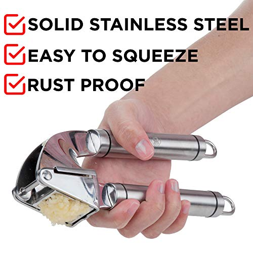 Alpha Grillers Garlic Press. Stainless Steel Mincer & Crusher With Silicone Roller Peeler. Easy Squeeze, Rust Proof, Dishwasher Safe, Easy Clean