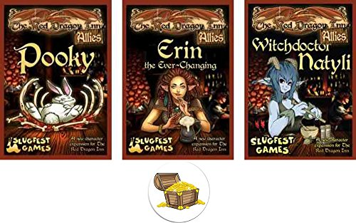 Dragon Treasure Chest - BUNDLE of 3 Red Dragon Inn Character Expansion Decks Pooky, Erin, and Natyli Wave 1 and a Treasure Chest Pin Back Button