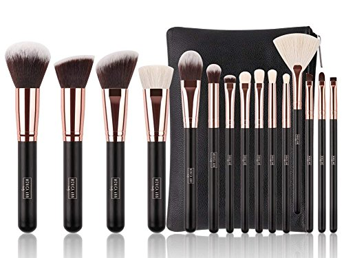 Luxury 15 pc Rose Gold Makeup Brush Set with Natural Hair and Premium Bag (Best Hair For Makeup Brushes)