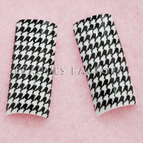 Airbrushed French Nail Tips (70pcs w/ tip box & glue) - HOUNDSTOOTH CHECK - Check Code Uv
