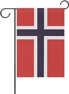 Anyangquji Double Sided Garden Flag Norwegian Flag Yard Outdoor Decorative