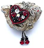 vanyjewl VANY Swarovski Crystal Halo Heart Pendant, Red, Black, Clear, Multi Stone Cluster, Clip On Detachable Option, Gift Packaged
