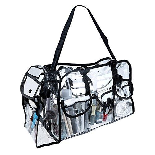 Malayas®Transparente Tasche Kosmetiktasche PVC wasserdichte abnehmbare Schultergurt Handtasche Umhängetasche mit 7 Taschen an der Seite, für Kosmetikum, Reisetasche, Schultertasche, Kulturbeutel