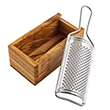 Redecker Stainless Steel Cheese Grater with Removable Oiled Olive Wood Collector, Elegant and Practical Design, Made in Italy