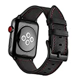 Genuine Leather Apple Watch Band 42mm, Unique Vintage Leather Replacement Watch Strap for Apple Watch Series 3, 2, 1, Nike+ Edition Wrist Cuff Business iWatch Loop (Black with Red thread, 42)