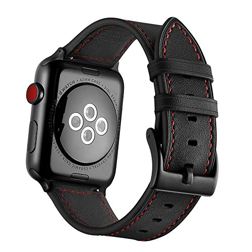 Black Red Leather - Genuine Leather Apple Watch Band 42mm, Unique Vintage Leather Replacement Watch Strap for Apple Watch Series 3, 2, 1, Nike+ Edition Wrist Cuff Business iWatch Loop (Black with Red thread, 42)