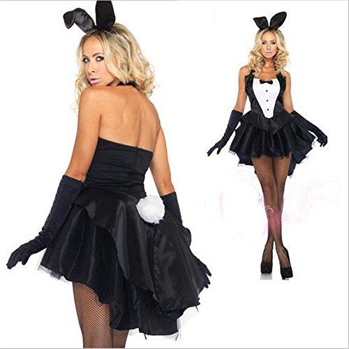 TeeNoke Women Girl Cosplay Costume Dress Bunny Tux Tail with Ear (Female Casino Dealer Costume)