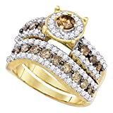 Brown Diamond Round Halo Engagement Ring Wedding Band Set 10k Yellow Gold Chocolate Bridal Set 1-3/4 ctw
