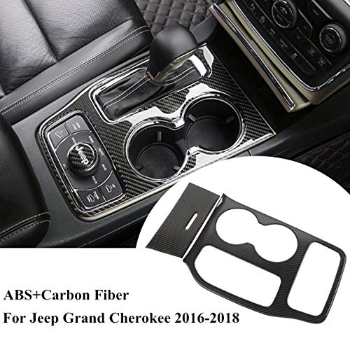 ZTYCKJ For Jeep Grand Cherokee 2016 2017 2018 Interior Accessories Decorative Cover Real Carbon Fiber Black Cup Holder Center Console Stickers Trim