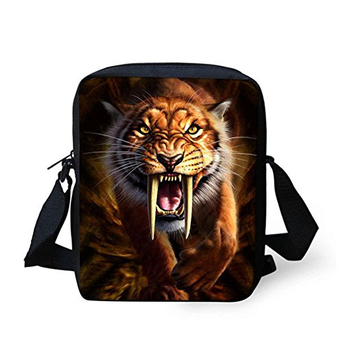 HUGS IDEA Wolf Head Printed Small Messenger Bag Adjustable Strap Shoulder Satchel Handbag Cellphone Pouch Tiger2