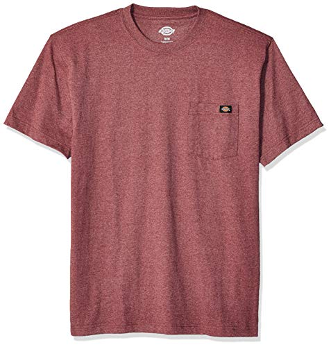 Dickies Men's Short Sleeve Heavyweight Heathered Crew Neck Tee, Burgundy Single Dye, L
