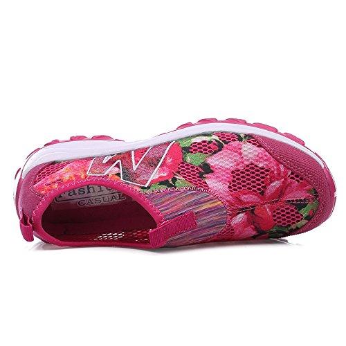 Femmes Enllerviid Glisser Sur Wedges Plate-forme Toning Chaussures Mode Floral Imprimé Fitness Chaussures De Marche Rose 1609